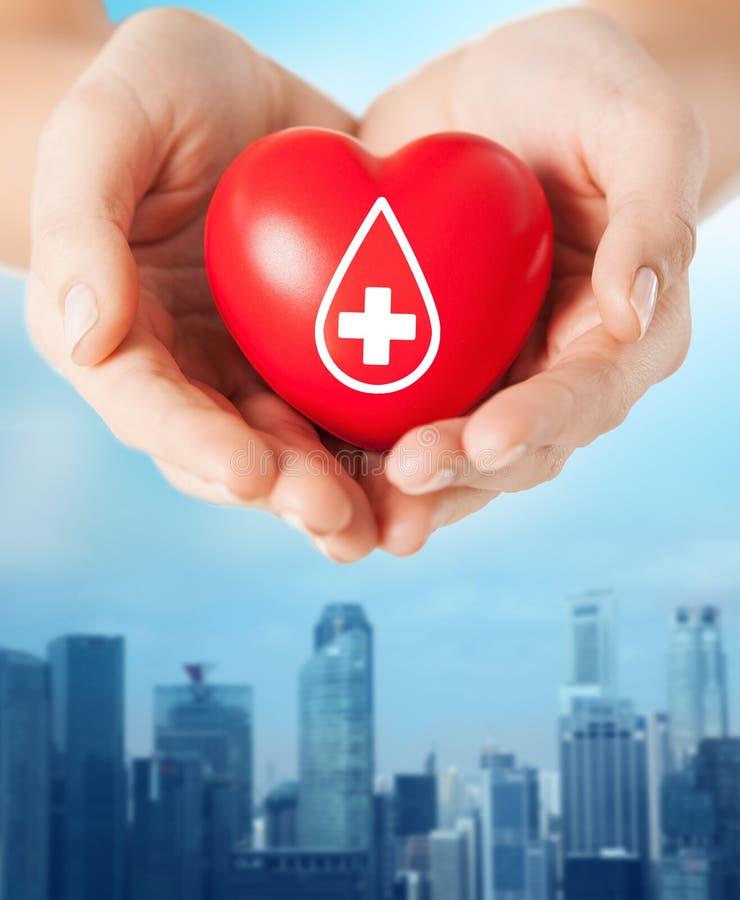 Manos femeninas que llevan a cabo el corazón rojo con la muestra dispensadora de aceite imagen de archivo