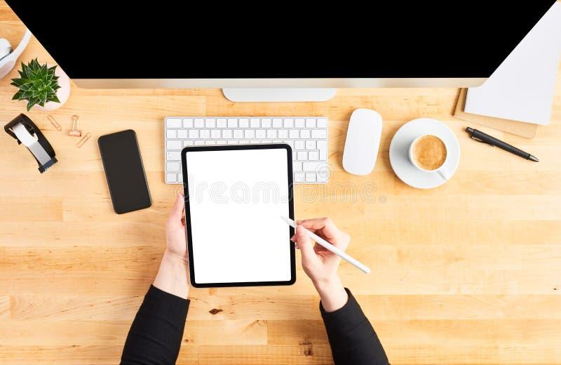 Manos femeninas que trabajan en la tableta digital con el l?piz foto de archivo