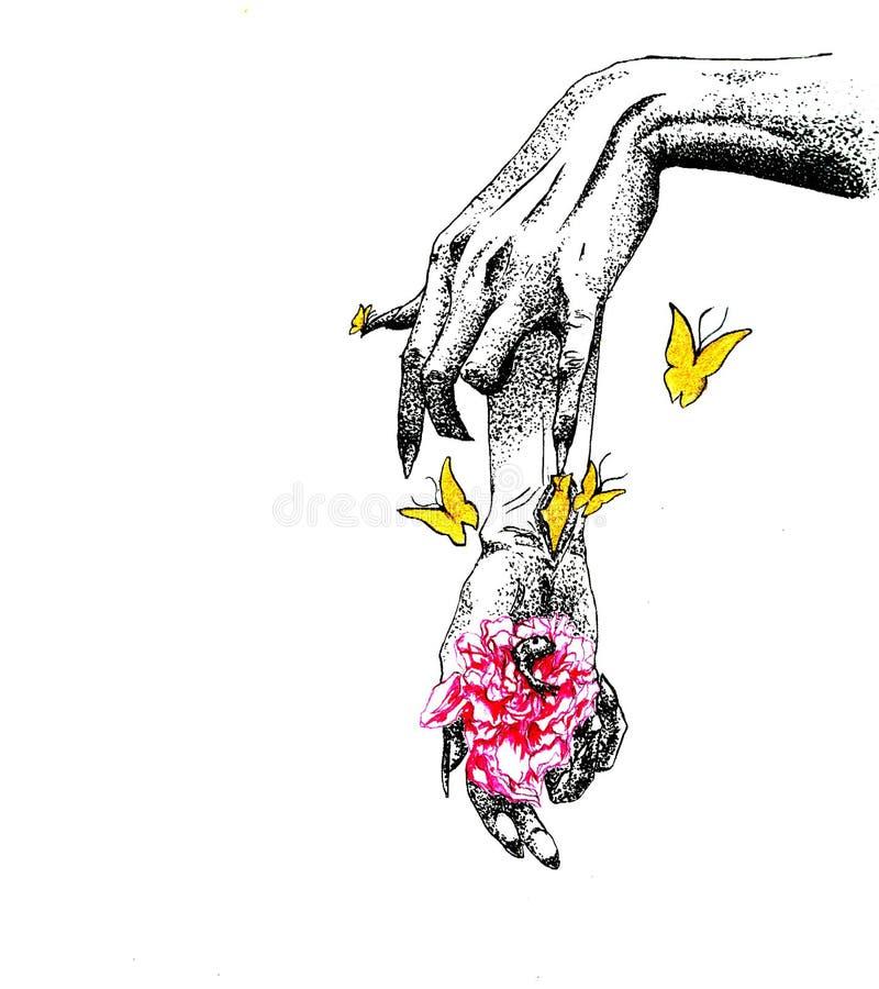 Manos, flores, mariposa, rana en la flor foto de archivo libre de regalías