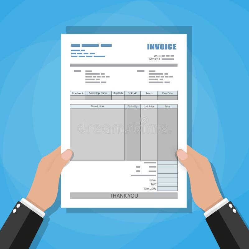 Manos Forma de la factura del papel de Unfill recibo cuenta libre illustration