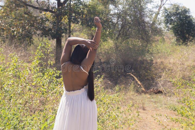 Manos hermosas muy escotadas por detrás de la novia por encima delante de un ciervo en la selva fotografía de archivo