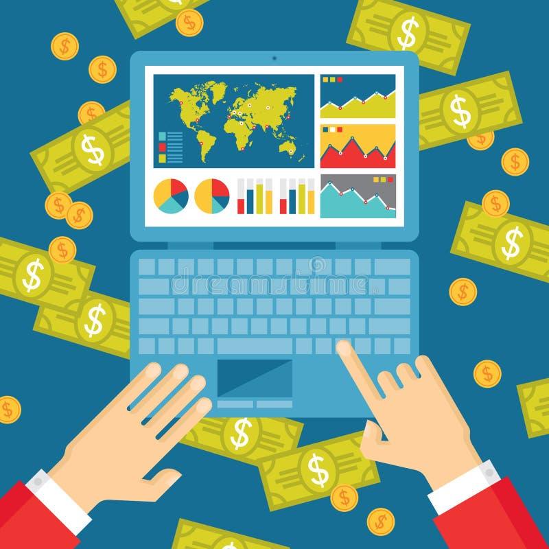 Manos humanas con el cuaderno, Infographics y los dólares de dinero - ejemplo de la tendencia del negocio stock de ilustración