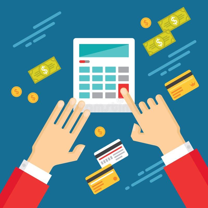 Manos humanas con la calculadora y el dinero del dólar - ejemplo del concepto en estilo plano del diseño stock de ilustración