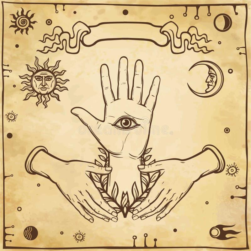 Manos humanas del emblema místico, todo-viendo el ojo, los símbolos del sol y la luna Ojo de Providence stock de ilustración