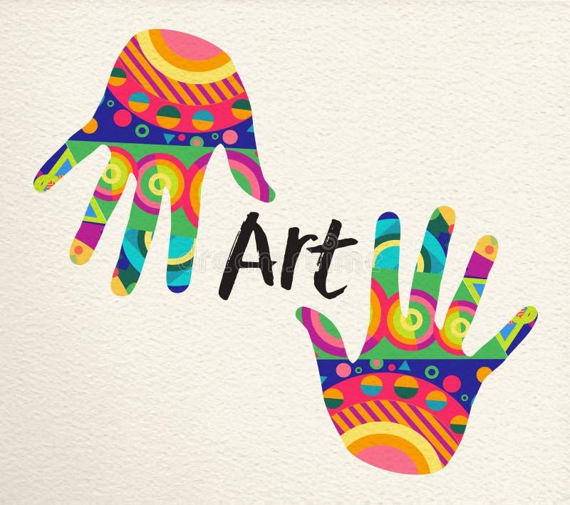 Manos humanas multicoloras para el concepto del arte ilustración del vector