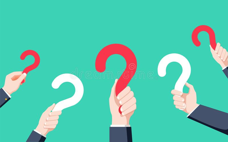 Manos humanas que llevan a cabo el signo de interrogación, FAQ en el estilo plano del diseño, ejemplo ilustración del vector