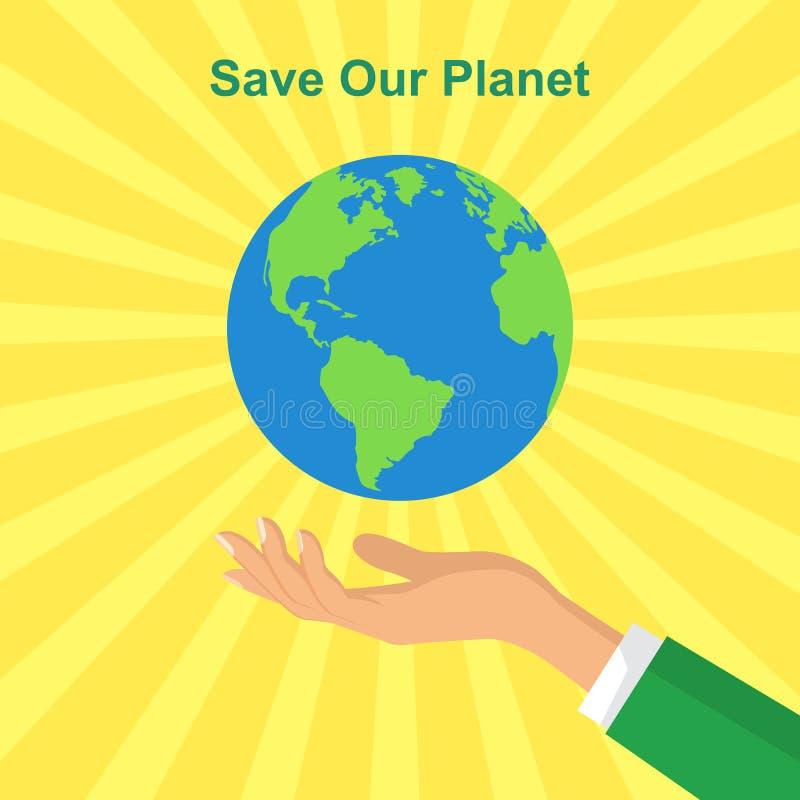 Manos humanas que sostienen el globo flotante Ahorre el concepto del planeta plano stock de ilustración