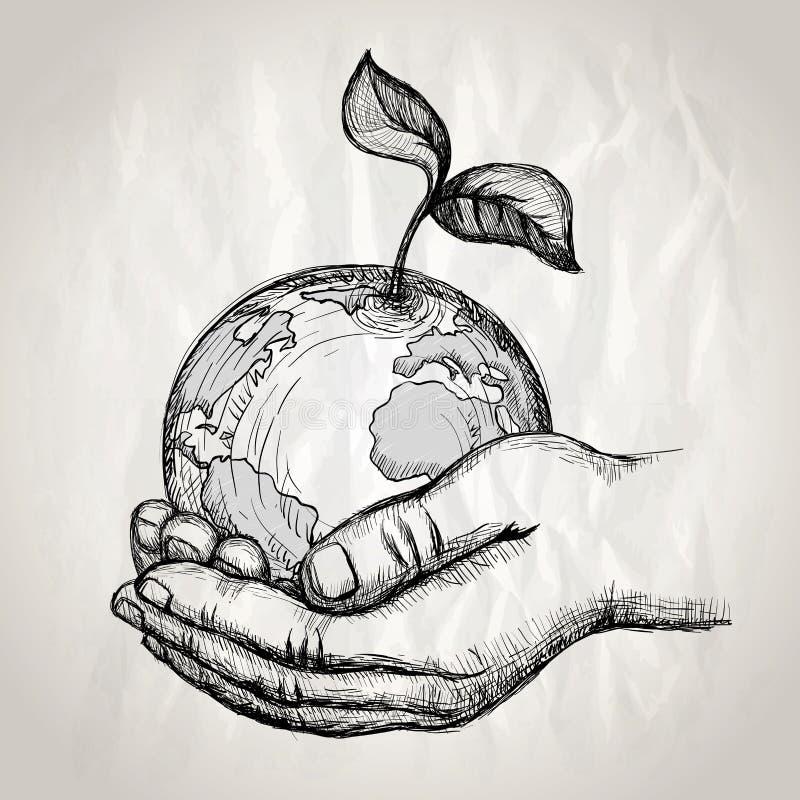 Manos humanas que sostienen la tierra con el brote de la planta, ejemplo gráfico exhausto de la mano del vector stock de ilustración
