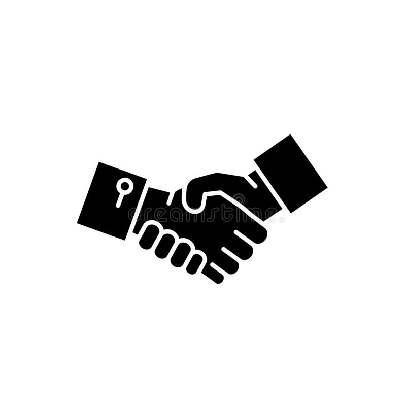 Manos icono negro, muestra de la sacudida del vector en fondo aislado Símbolo del concepto de las manos de la sacudida, ejemplo stock de ilustración