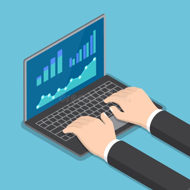 Manos isométricas del hombre de negocios usando el ordenador portátil con informe financiero stock de ilustración
