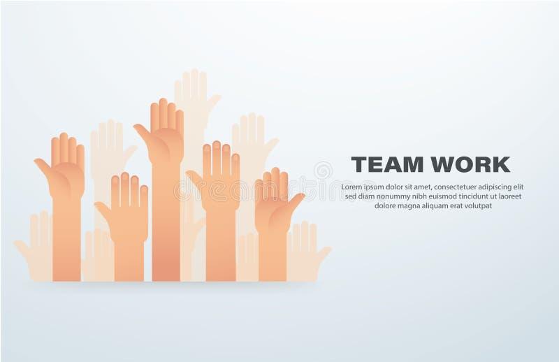 Manos levantadas Concepto del trabajo de las personas Ejemplo EPS10 del vector del fondo stock de ilustración