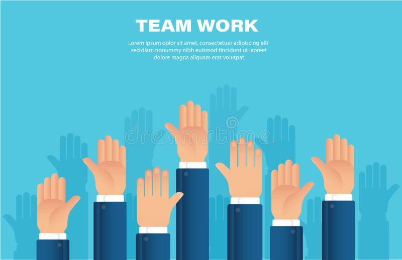 Manos levantadas Concepto del trabajo de las personas Ejemplo EPS10 del vector del fondo libre illustration