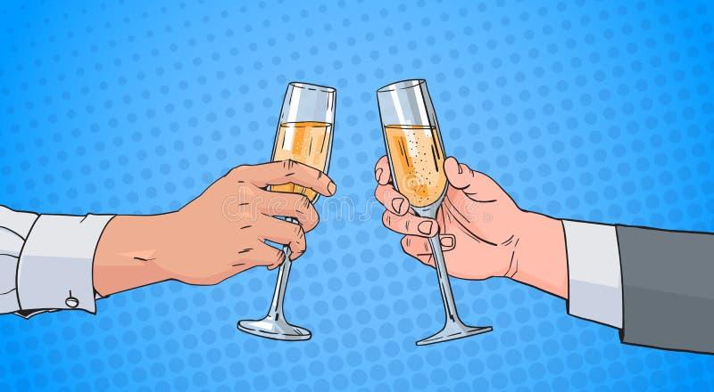 Manos masculinas de los pares que tintinean el vidrio de Champagne Wine Toasting Pop Art Pin Up Background retro stock de ilustración