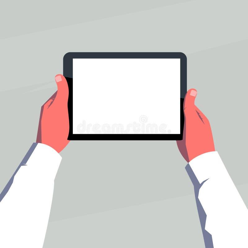 Manos masculinas que sostienen la tableta en blanco horizontalmente stock de ilustración