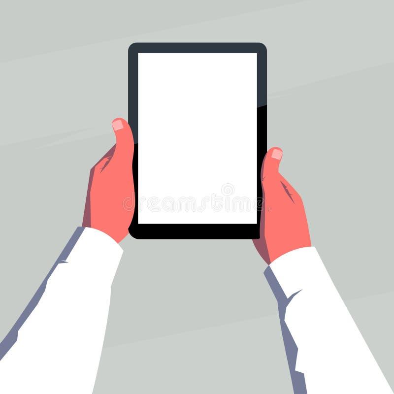 Manos masculinas que sostienen la tableta en blanco verticalmente ilustración del vector