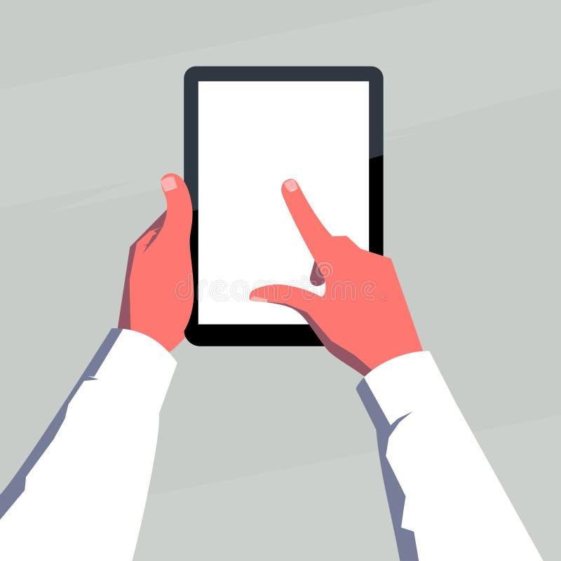 Manos masculinas que sostienen la tableta en blanco verticalmente Finger en la pantalla stock de ilustración