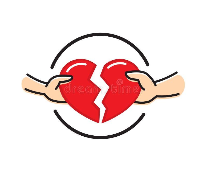 Manos masculinas y femeninas con el corazón rojo quebrado Concepto del corazón de la desintegración Divorcio de la relación de la ilustración del vector