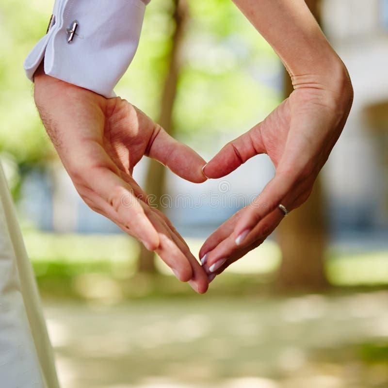 Manos novia y novio en la forma del corazón fotos de archivo