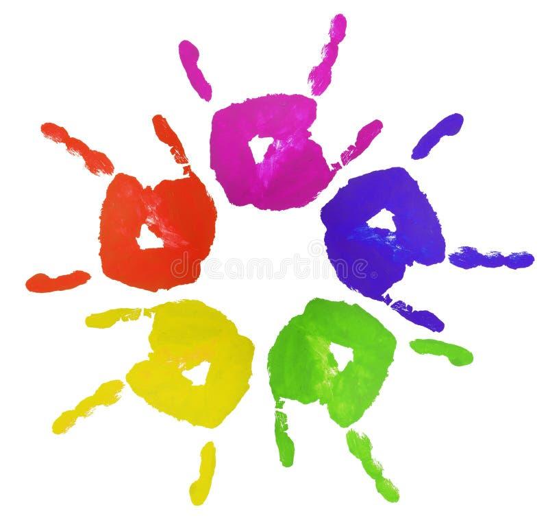 Manos pintadas dedo colorido ilustración del vector