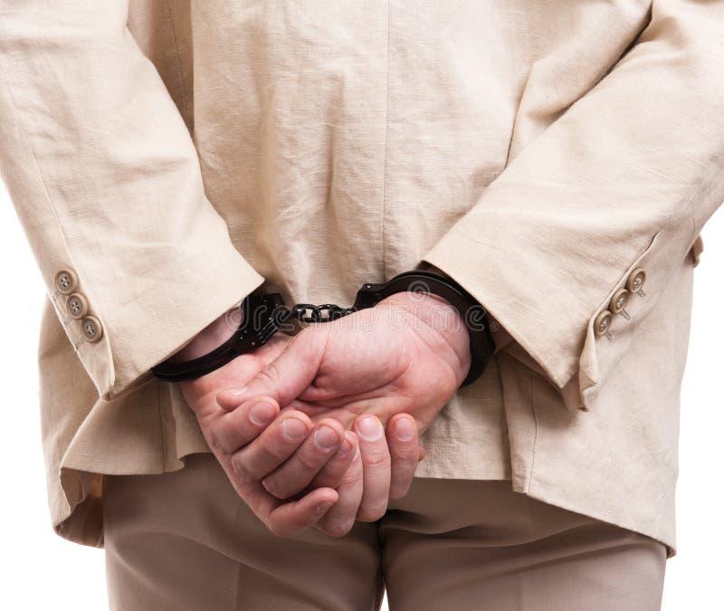 Manos puestas manilla hombre arrestadas en la parte posterior foto de archivo