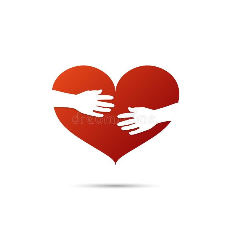 Manos que abrazan un icono rojo del corazón con la sombra ilustración del vector