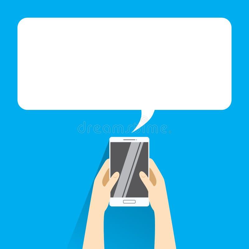 Manos que agujerean el smartphone blanco con la burbuja en blanco del discurso para el texto stock de ilustración
