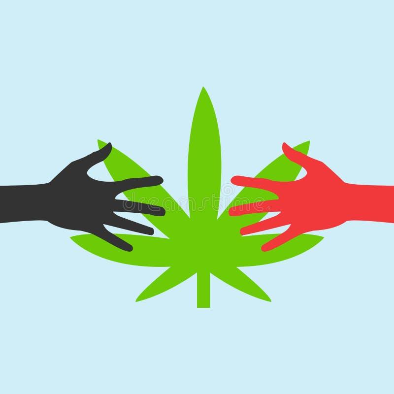 Manos que alcanzan para una hoja EPS de la marijuana libre illustration