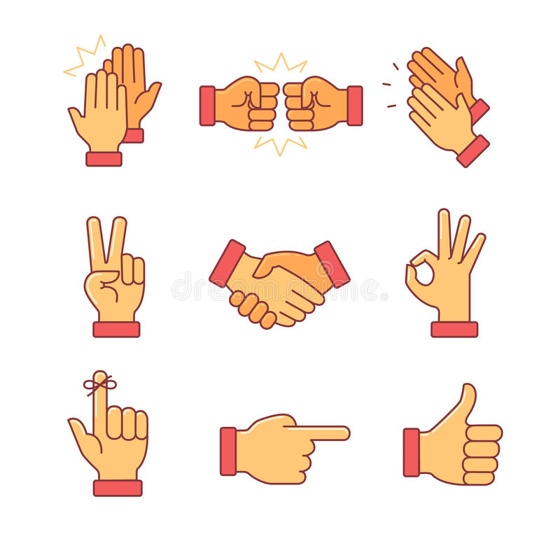 Manos que aplauden y otros gestos ilustración del vector