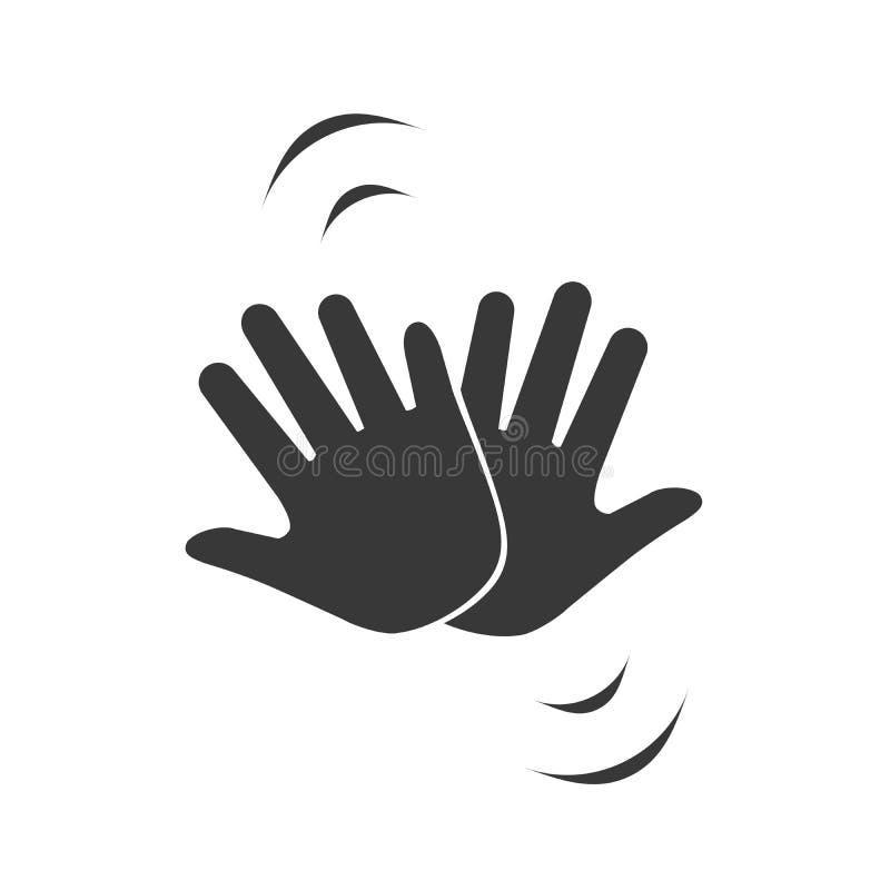 Manos que celebran con altos cinco icono, ejemplo del vector aislado en el fondo blanco libre illustration