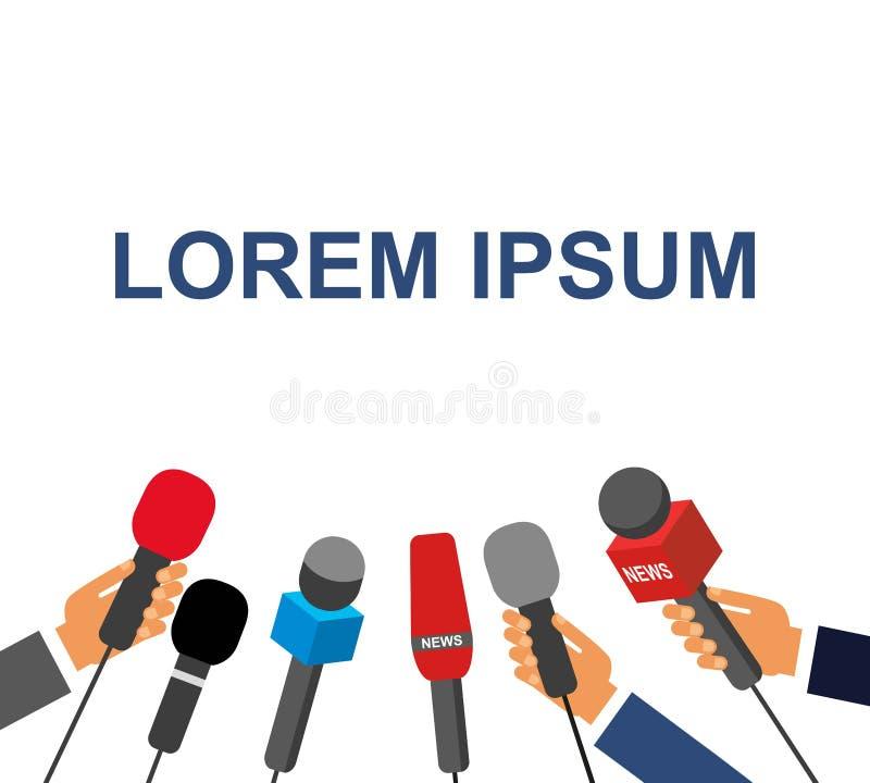 Manos que dan un micrófono, rueda de prensa, ejemplo del vector Micrófono de la explotación agrícola de la mano entrevista libre illustration