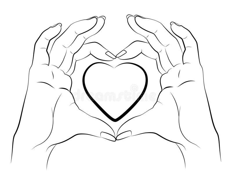 Manos que hacen corazón el dibujo lineal ilustración del vector