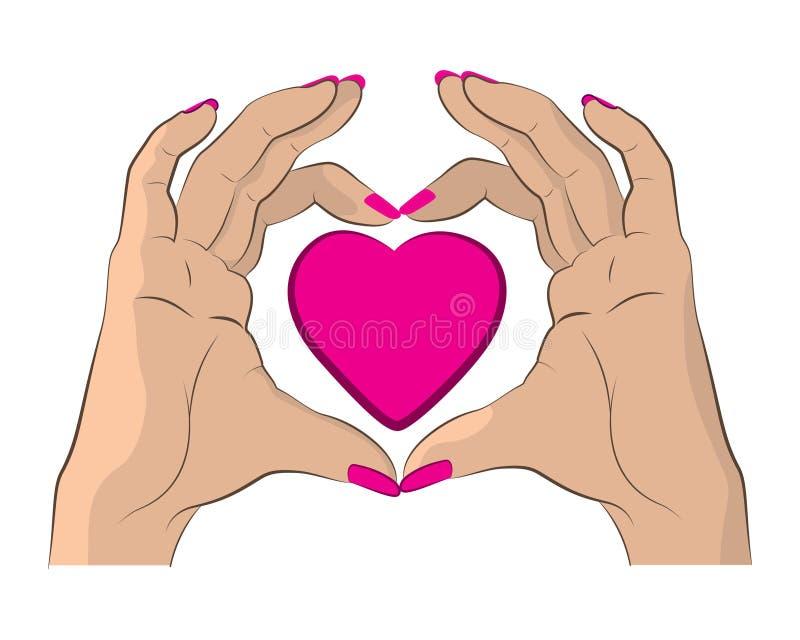 Manos que hacen corazón el ejemplo colorido rosado libre illustration