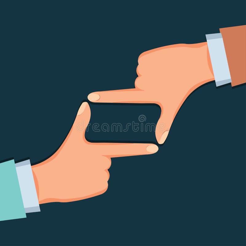 Manos que hacen el ejemplo del vector del gesto del marco del finger stock de ilustración
