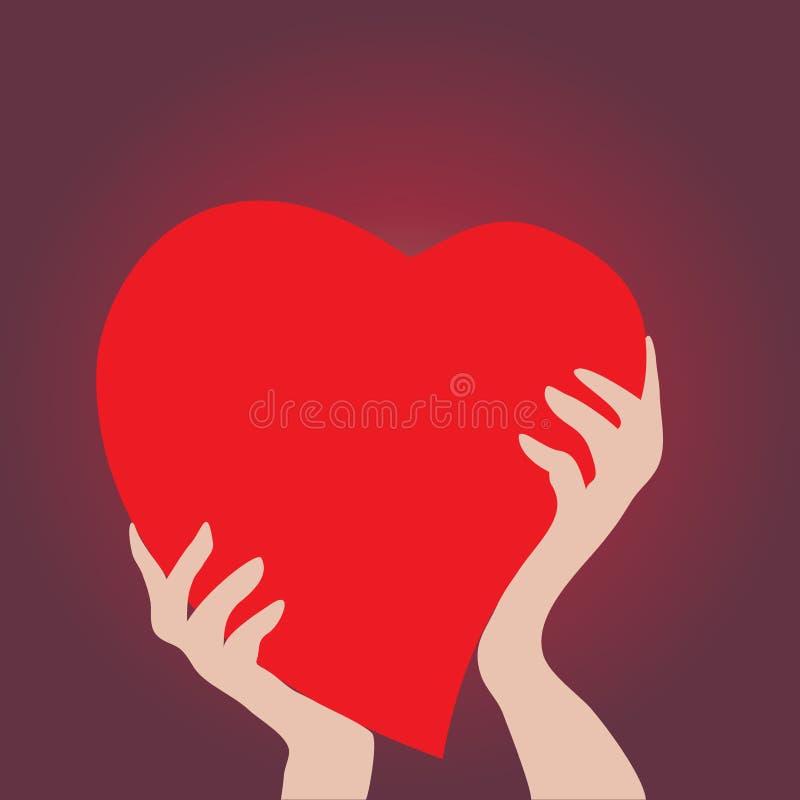 Manos que llevan a cabo el corazón rojo stock de ilustración