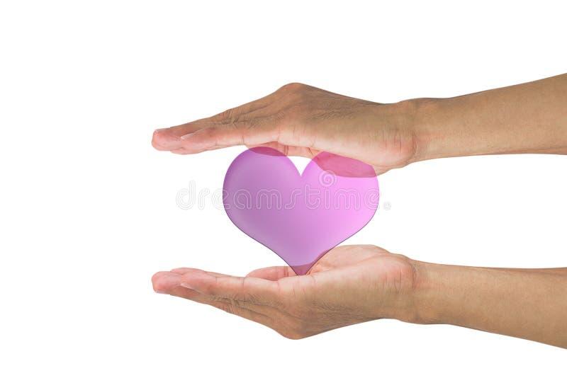 Manos que llevan a cabo el corazón rosado en el fondo blanco imagenes de archivo