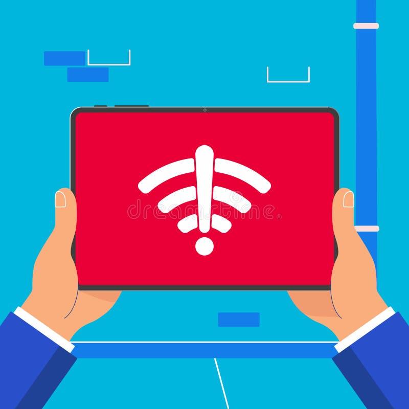 Manos que llevan a cabo el dispositivo negro de la tableta aislado en fondo de la pared ilustración del vector