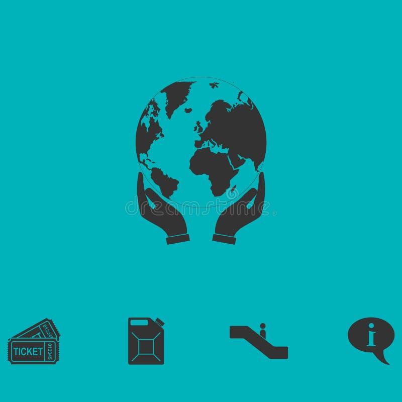 Manos que llevan a cabo el icono de la tierra del globo completamente stock de ilustración
