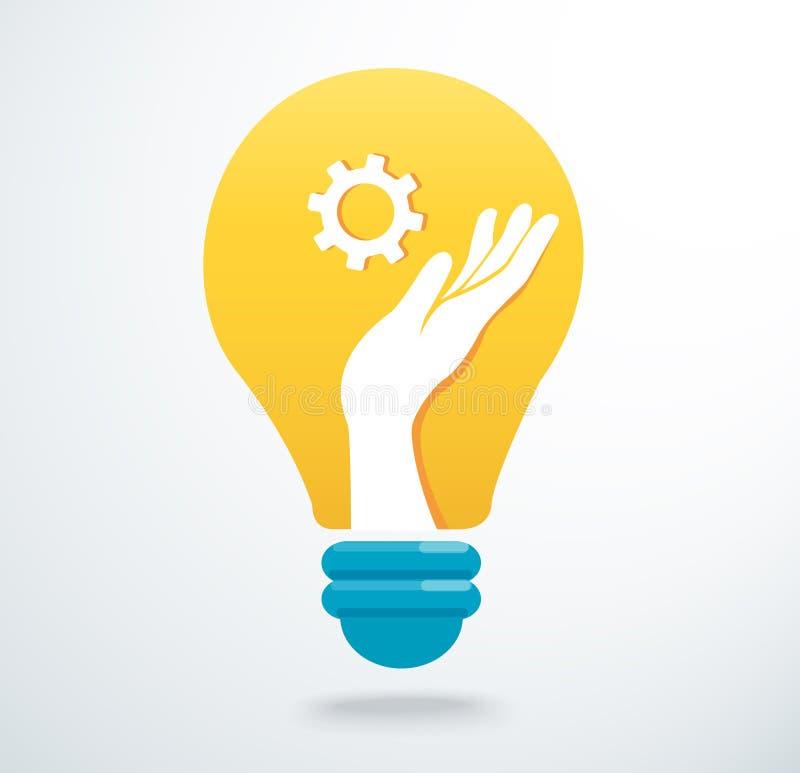 Manos que llevan a cabo el icono del engranaje en el vector del icono de la bombilla, concepto creativo stock de ilustración