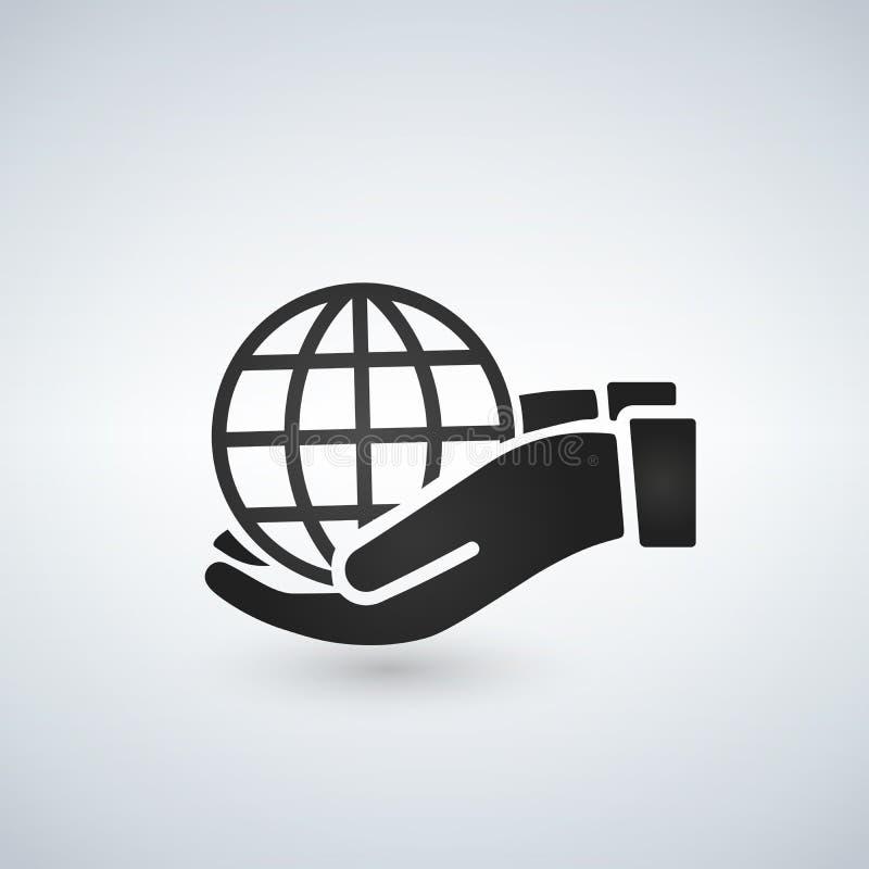 Manos que llevan a cabo el icono del negro del web de la tierra del globo Ahorre el concepto de la tierra libre illustration
