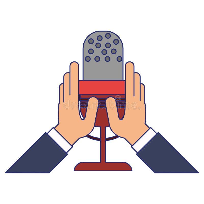 Manos que llevan a cabo líneas azules del símbolo del micrófono stock de ilustración