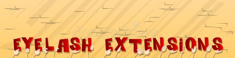 Manos que llevan a cabo las extensiones de la pestaña de la palabra ilustración del vector