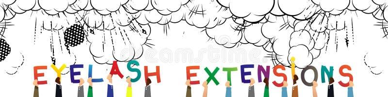 Manos que llevan a cabo las extensiones de la pestaña de la palabra libre illustration