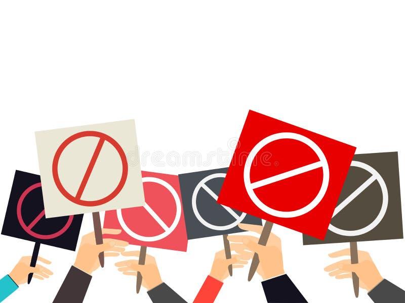 Manos que llevan a cabo muestras de la protesta Muchedumbre de manifestantes Cartel de la crisis política Mano que sostiene un ca stock de ilustración