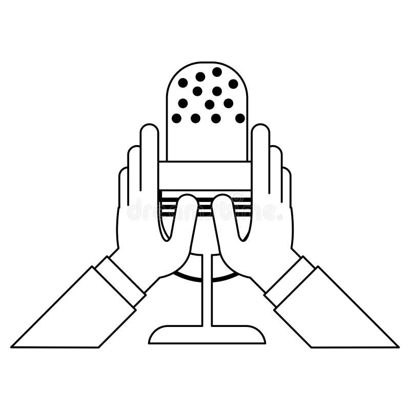 Manos que llevan a cabo símbolo del micrófono blanco y negro libre illustration