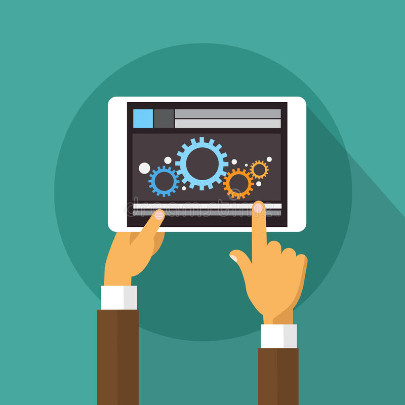 Manos que llevan a cabo tecnología de la aplicación móvil del desarrollador de la tableta ilustración del vector