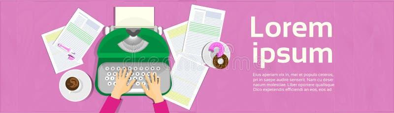 Manos que mecanografían en la opinión de ángulo de Workplace Banner Top del escritor de la máquina de escribir del vintage ilustración del vector