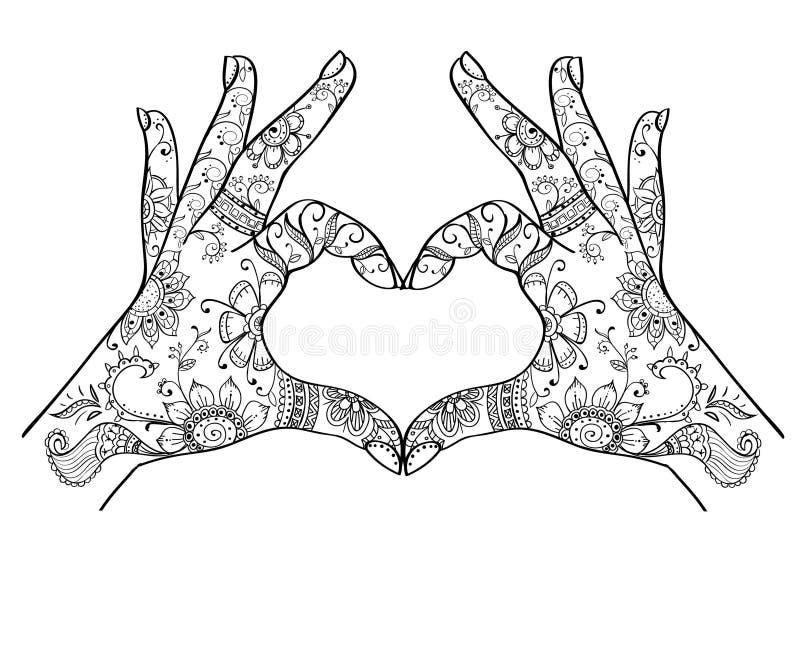 Manos que muestran el zentangle del amor stock de ilustración