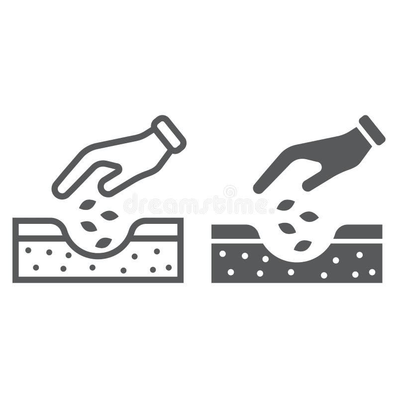 Manos que plantan la línea de las semillas y el icono del glyph stock de ilustración