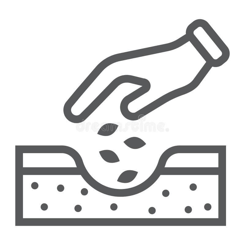 Manos que plantan la línea icono de las semillas, cultivando libre illustration