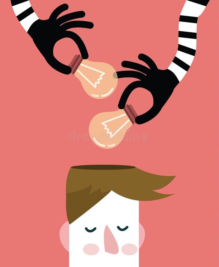 Manos que roban bombillas de la idea de la cabeza, libre illustration